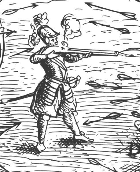 """Samuel de Champlain (n. 1567, Brouage, Franța - d.25 decembrie 1635, Québec, Canada) a fost un geograf, explorator și cartograf francez, întemeietorul orașului Québec și primul Guvernator General al Canadei, între 1613 și 1627, de facto, respectiv între 1627 și 1635, numit de regele Ludovic al XIII-lea al Franței -Detail from """"Deffaite des Yroquois au Lac de Champlain,"""" Champlain's Voyages (1613). This self-portrait is the only surviving contemporary likeness of the explorer - foto preluat de pe ro.wikipedia.org"""