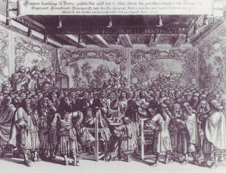 Tratatul de la Breda (31 iulie 1667) - Gravură reprezentând încheierea păcii la Castelul Breda - foto preluat de pe ro.wikipedia.org