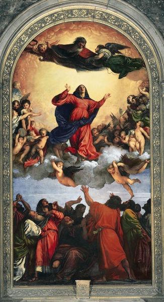 Tiziano Vecellio: Înălţarea la cer a Fecioarei, 1516-1518 - Biserica Santa Maria Gloriosa dei Frari, Veneţia - foto preluat de pe ro.wikipedia.org