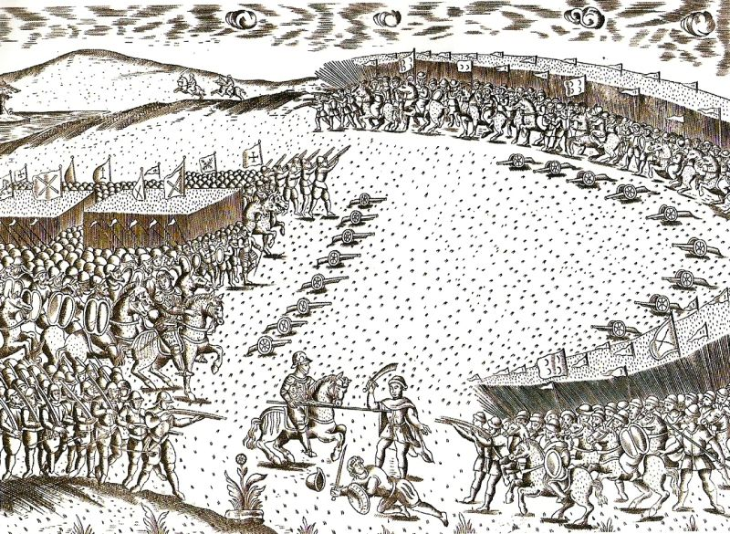 Bătălia de la Al-Kaar al Kabir (4 August 1578) - Battle at Ksar el Kebir, depicting the encirclement of the Portuguese army on the left - foto preluat de pe en.wikipedia.org
