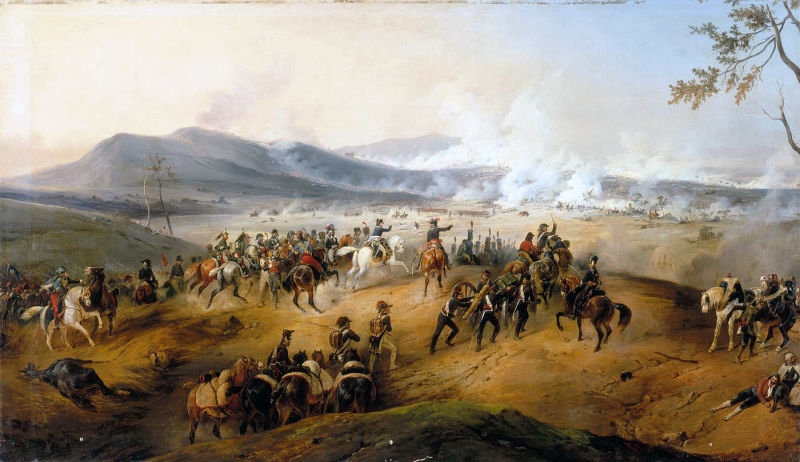 "Bătălia de la Castiglione (5 August 1796) - 5 August 1796, approximately 10 hours. Battle of Castiglione. Under the command of Napoleon, Marmont brings artillery onto Mount Medolano while Augereau's division begins the attack in the central plain (Victor Adam - ""Battle of Castiglione"" - 1836) - foto preluat de pe ro.wikipedia.org"