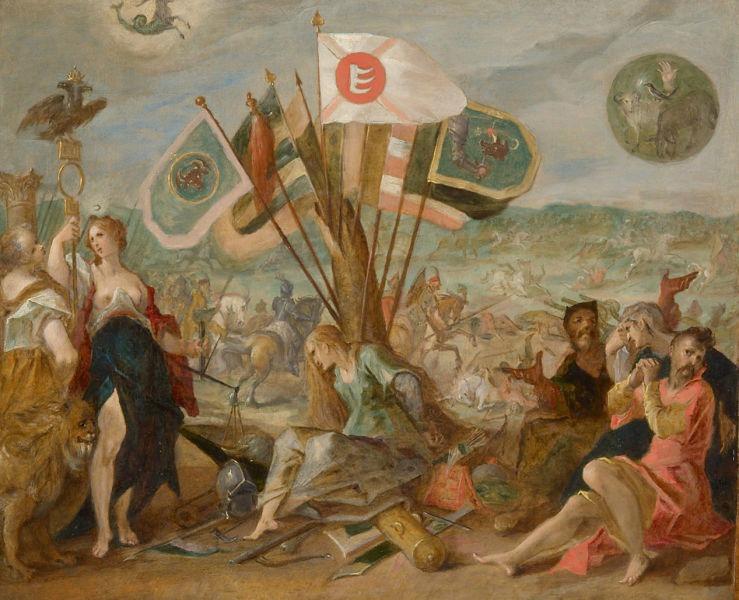 Bătălia de la Guruslău (3 august 1601) - Parte a Războiului cel Lung - Centru: Discordia, ţinând unele din cele 110 de steaguri capturate de Mihai Viteazul şi Basta (stânga: Moldova, dreapta: Odorhei, centru: steagul lui Báthory). Dreapta: Prizonieri transilvăneni aşezaţi sub un scut rotund cu simboluri transilvănene: o mână, o pasăre, un măgar, o oaie. Stânga: Diana, ţinând o suliţă cu vulturul bicefal imperial, sub Scorpion, semnul astrologic al împăratului Rudolf al II-lea de Habsburg. De Hans von Aachen, 1603–1604 - foto preluat de pe ro.wikipedia.org
