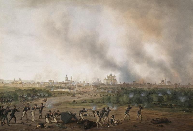 Bătălia de la Smolensk (16–18 August 1812) - Battle of Smolensk on 18 August, by Albrecht Adam. Swarms of French skirmishers assault the burning city - foto preluat de pe en.wikipedia.org