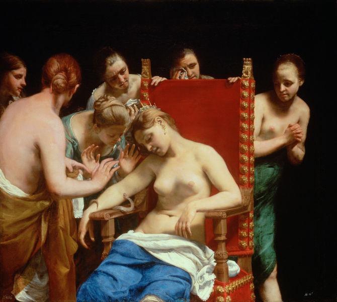 """Moartea Cleopatrei"" de Guido Cagnacci, 1658 - foto preluat de pe ro.wikipedia.org"