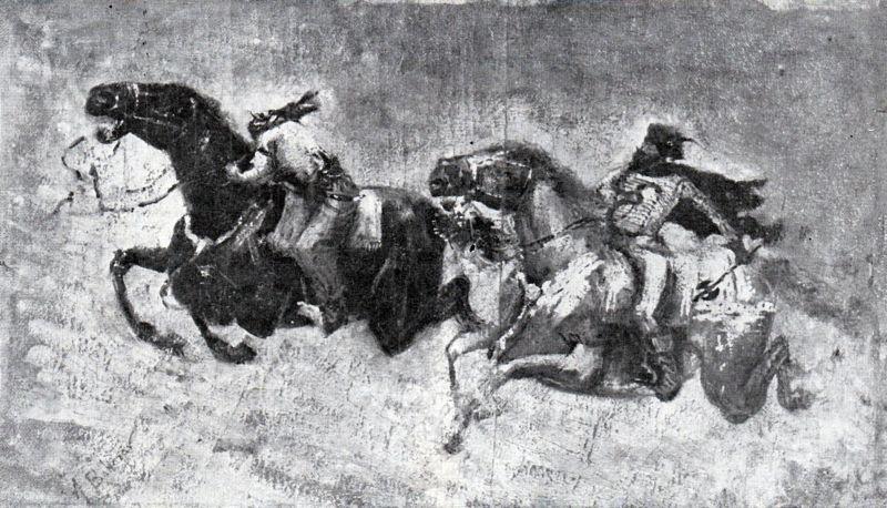 Mihai Viteazul alungând pe Sinan Pașa - desen de Apcar Baltazar - foto preluat de pe ro.wikipedia.org