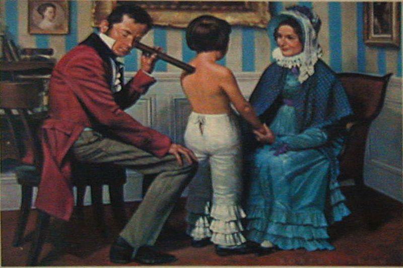 Laënnec examinând un copil cu stetoscopul. (Pictură de Robert A. Thom)- foto: ro.wikipedia.org