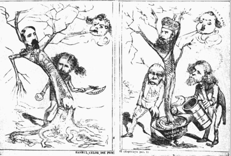 """Caricatură antidinastică publicată în """"Ghimpele"""", în 1872. În stânga: Al. I Cuza trădat de Ion Brătianu. În dreapta: Carol I sprijinit de Bismark şi Brătianu, având la bază influenţa germană şi având împotrivă """"vocea ţării"""" - foto preluat de pe ro.wikipedia.org"""