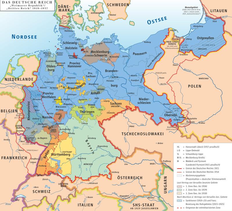 Harta Germaniei în perioada Republicii de la Weimar - foto preluat de pe ro.wikipedia.org