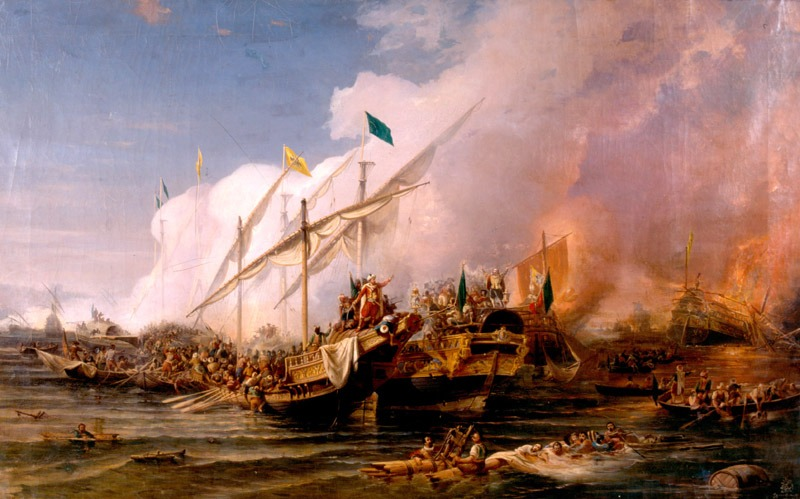 "The ""Battle of Preveza"" (28 September 1538) by Ohannes Umed Behzad, painted in 1866 - foto preluat de pe en.wikipedia.org"