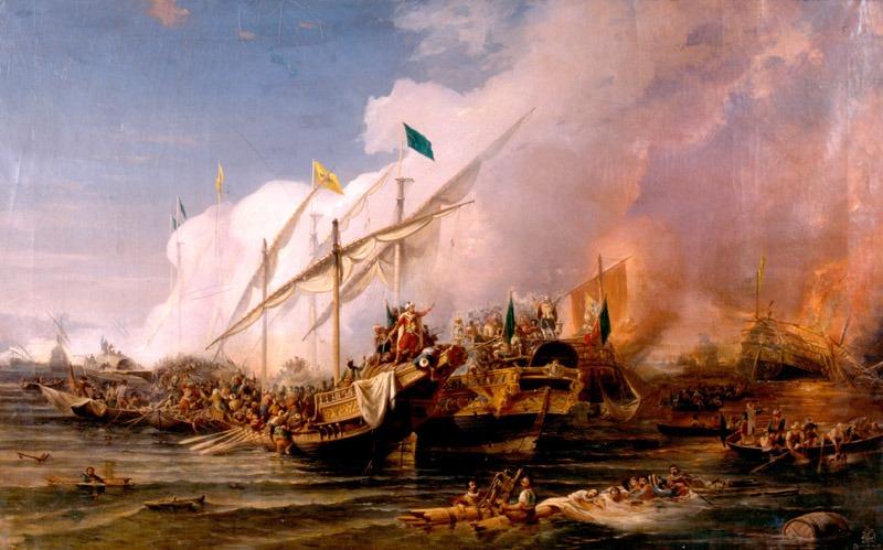 """The """"Battle of Preveza"""" (28 September 1538) by Ohannes Umed Behzad, painted in 1866 - foto preluat de pe en.wikipedia.org"""