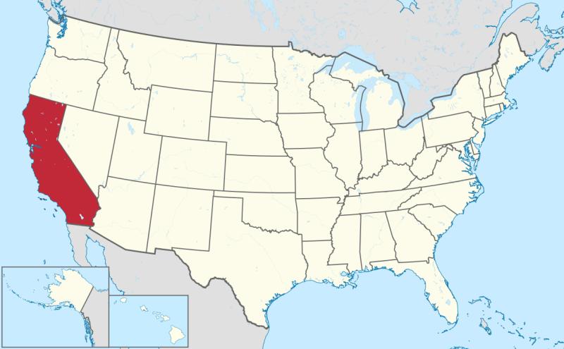Amplasarea statului California pe hartta Statelor Unite ale Americii - foto preluat de pe ro.wikipedia.org
