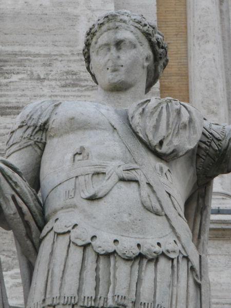 Constantin al II-lea (Flavius Claudius Constantinus; n. februarie 317 - d. 340) a fost împărat roman între 337-340. Era fiul lui Constantin cel Mare şi al Faustei, născut la Arelate (Arles) în Gallia. Desemnat în 337 Caesar, participă în 332 la luptele de la Dunărea de Jos împotriva goţilor şi, în 337, la moartea tatălui său, este ridicat împreună cu cei doi fraţi ai săi, Constant şi Constanţiu II, la rangul de Augustus, încredinţindu-i-se guvernarea provinciilor occidentale: Gallia, Hispania şi Britannia. După încercarea nereuşită de a institui o tutelă asupra fratelui său mai tânăr, Constant, Constantin pătrunde cu o armată în Italia, dar este ucis, în apropiere de Aquileia, în 340 - foto preluat de pe ro.wikipedia.org