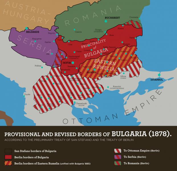 Rumelia Orientală (dungi roşii şi portocalii) aflată între Principatul Bulgariei şi Imperiul Otoman - foto: ro.wikipedia.org