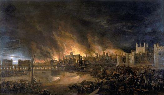 Detaliu al unei picturi a Marelui Incendiu din Londra de un pictor anonim, prezentând incendiul așa cum ar fi apărut în seara de marți, 4 septembrie de pe o barcă aflată în apropiere deTower Wharf. Turnul Londrei se află pe dreapta, iar Podul Londrei pe stânga, cu Catedrala Sf. Pavel în depărtare, înconjurată de flăcările cele mai înalte - foto: ro.wikipedia.org