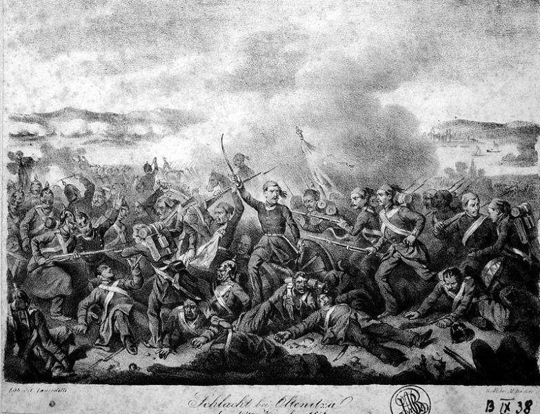 Bătălia de la Oltenița (4 noiembrie 1853) de Karl Lanzedelli - Bătălia de la Oltenița a avut loc în timpul Războiulului Crimeii (1853 - 1856) Părțile combatante pe de-o parte au fost, armata rusă, iar pe de alta armata otomană condusă de Omar Pașa. Bătălia s-a încheiat cu victorie otomană. Armata rusă s-a retras cu pierderi însemnate. Trupele turcești au traversat pe malul stâng al Dunării, distrugând fortificațiile inamicului - foto preluat de pe ro.wikipedia.org