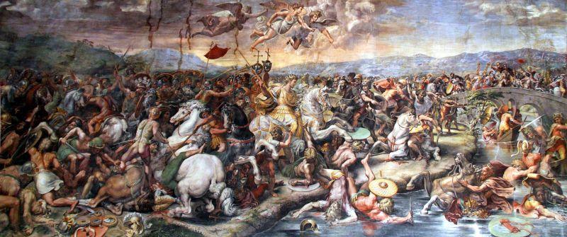Bătălia de la Podul Milvius (28 octombrie 312) Pictură de Giulio Romano. Presupusele armate cereşti implicate sunt prezentate ca nişte îngeri cu aripi- foto preluat de pe: ro.wikipedia.org