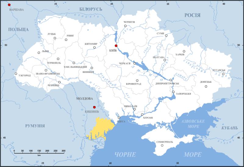 Bugeacul în cadrul Ucrainei, între Romania, Republica Moldova și Marea Neagră - foto preluat de pe ro.wikipedia.org