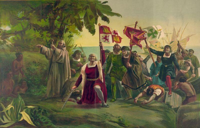 Prima întâlnire a lui Cristofor Columb cu locuitorii Lumii Noi (12 octombrie 1492) - foto preluat de pe ro.wikipedia.org