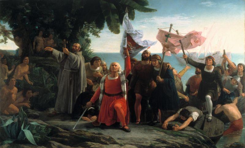"""Prima întâlnire a lui Cristofor Columb cu locuitorii Lumii Noi, (12 octombrie 1492) - """"Desembarco de Colón"""" de Dióscoro Puebla - foto preluat de pe ro.wikipedia.org"""