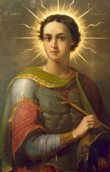 Sfântul Mare Mucenic Dimitrie, Izvorâtorul de Mir, icoană pictată de GheorgheTattarescu - foto preluat de pe ro.orthodoxwiki.org