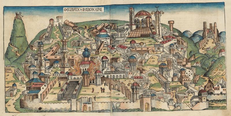 Distrugerea Ierusalimului de către babilonieni, imagine din Cronica din Nürnberg - foto preluat de pe ro.wikipedia.org