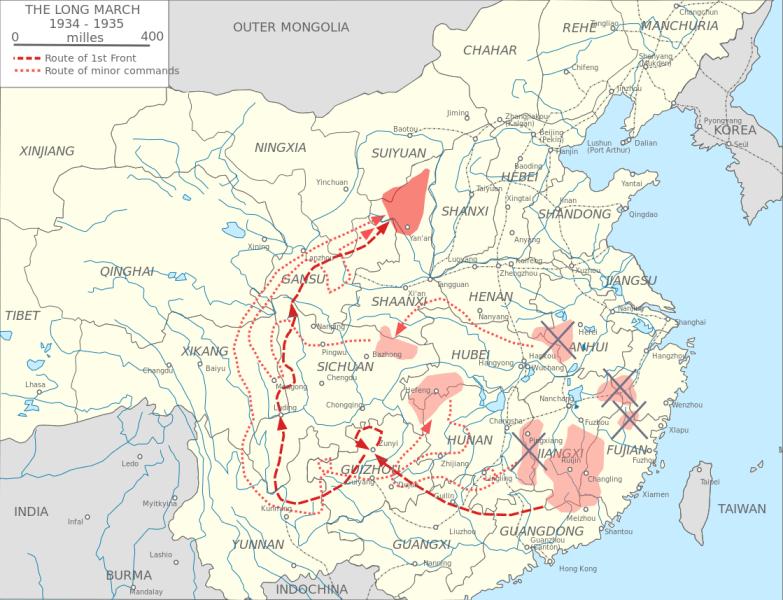 Hartă de ansamblu a Marșului cel Lung (China, 1934 - 1935) - foto preluat de pe ro.wikipedia.org