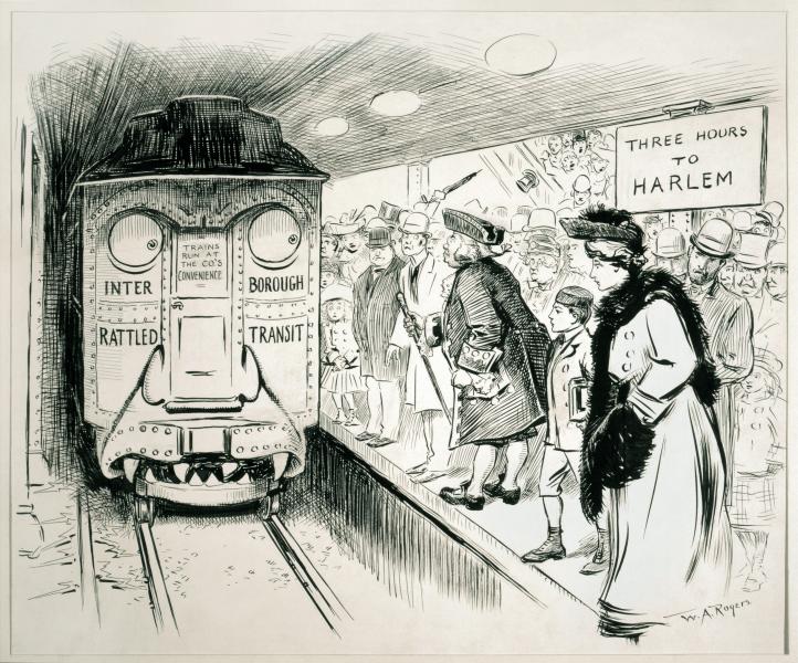 """Caricatură cu privire la serviciile IRT din 1905. IRT este interpretat ca """"Interborough Rattled Transit"""", adică """"Transportul speriat între cartiere"""" - foto preluat de pe ro.wikipedia.org"""