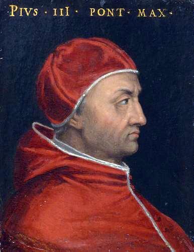 Papa Pius al III-lea (n. 29 mai 1439; d. 18 octombrie 1503), născut Francesco Todeschini Piccolomini, a fost un papă al Romei de la 22 septembrie până pe 18 octombrie 1503 - foto preluat de pe en.wikipedia.org