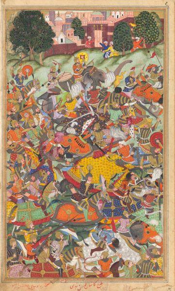Second Battle of Panipat (November 5, 1556) - The defeat of Hemu, a c.1590s painting by Kankar of the Second Battle of Panipat taken from the Akbarnama - foto preluat de pe en.wikipedia.org