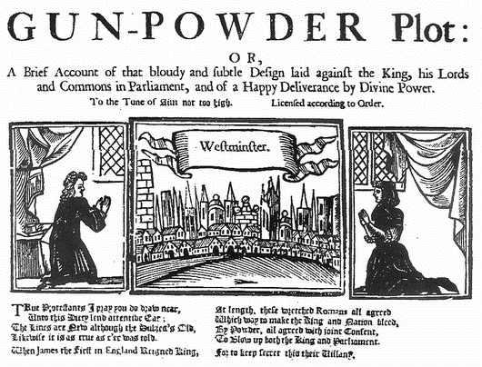 Complotul prafului de pușcă (5 noiembrie 1605) A late 17th or early 18th-century report of the plot - foto preluat de pe ro.wikipedia.org