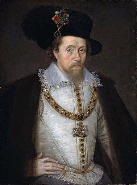 Iacob (n. 19 iunie 1566, Edinburgh, Scoţia - d. 27 martie 1625, Theobalds Park, Grafschaft Hertfordshire, Anglia) a fost rege al Scoţiei ca Iacob al VI-lea din 24 iulie 1567 şi rege al Angliei şi Irlandei ca Iacob I de la 24 martie 1603 până la moartea sa (portret de John de Critz, c. 1605) - foto preluat de pe ro.wikipedia.org