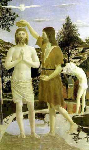 Ioan botezându-l pe Iisus în Iordan, pictură de Piero della Francesca, 1449 - foto preluat de pe ro.wikipedia.org