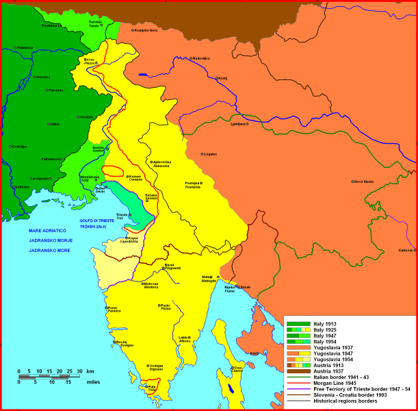 Treaty of Rapallo (1920) - Map of the border changes in the Julian March: with the Treaty of Rapallo, Italy received most of the Austrian Littoral, part of Inner Carniola, and some border areas of Carinthia - foto preluat de pe en.wikipedia.org