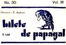 Bilete de papagal a fost un ziar scos în 2 februarie 1928 de Tudor Arghezi, deschis, în special, tuturor scriitorilor consacrați, dar și tinerelor talente - foto preluat de pe ro.wikipedia.org