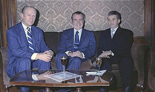 Întâlnirea preşedintelui american Richard Nixon şi vicepreşedintelui Gerald Ford cu Nicolae Ceauşescu în 1973 - foto preluat de pe ro.wikipedia.org