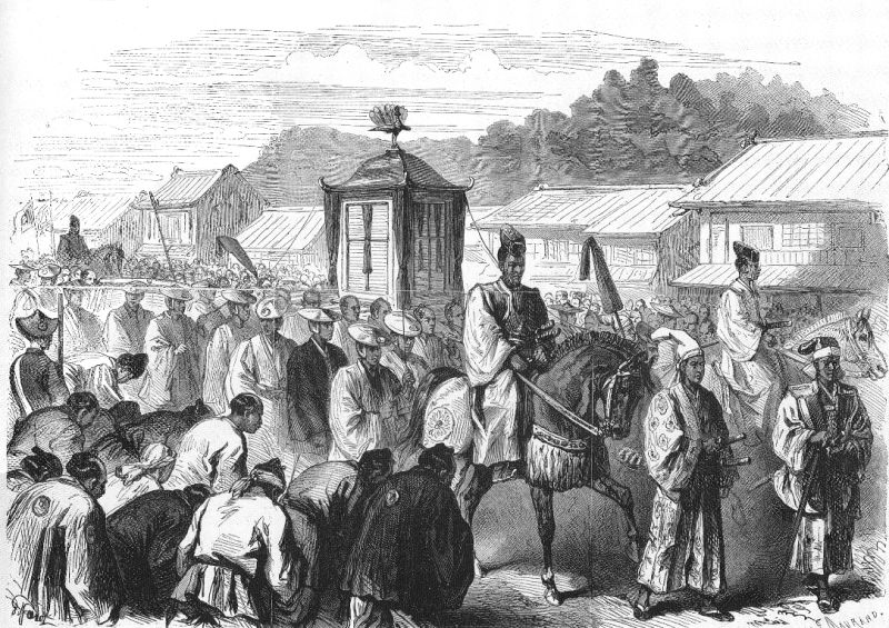 Emperor Meiji moving from Kyoto to Tokyo, end of 1868, as imagined by Le Monde Illustre - foto preluat de pe en.wikipedia.org