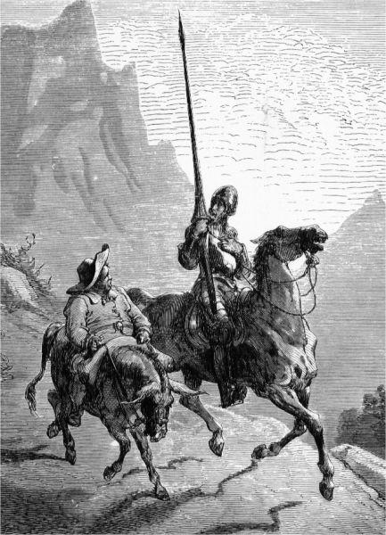 Don Quixote de la Mancha and Sancho Panza, 1863, by Gustave Doré - foto preluat de pe ro.wikipedia.org