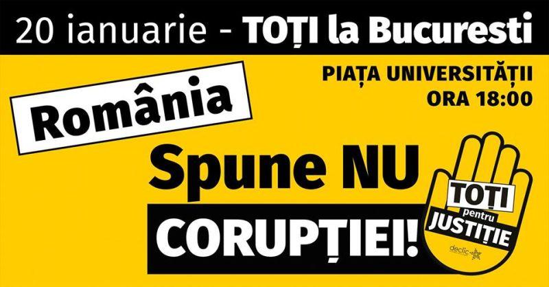"""Toate drumurile duc la Bucuresti.""""Revolutia"""" generatiei noastre (Protest - 20 ianuarie 2018) - foto preluat de pe facebook.com"""