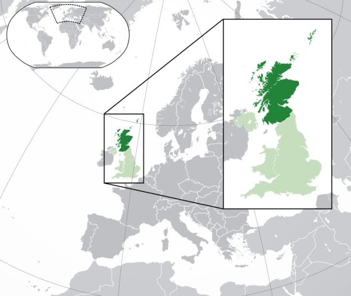 Scoția este o țară ce face parte din Regatul Unit și acoperă treimea de nord a insulei Marea Britanie - foto preluat de pe ro.wikipedia.org