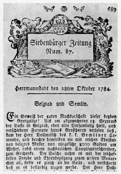 Siebenbürger Zeitung a fost primul ziar din Transilvania. Primul număr a apărut pe 2 ianuarie 1784 la Sibiu, din presa tipografului Martin Hochmeister - foto preluat de pe cersipamantromanesc.wordpress.com