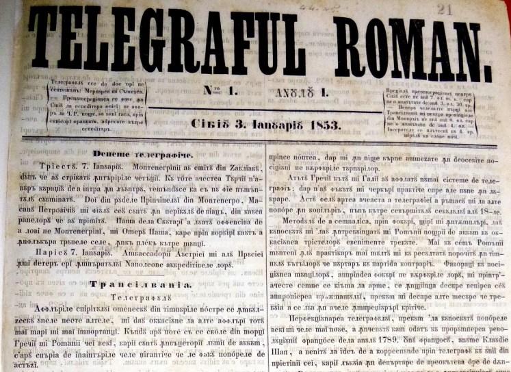Telgraful român a fost o gazetă bisăptămânală de informare socială și culturală care a apărut la Sibiu de la 3 ianuarie 1853 - foto preluat de pe cersipamantromanesc.wordpress.com