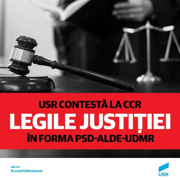 USR face noi sesizări la CCR pe legile justiției - foto preluat de pe facebook.com/USRNational