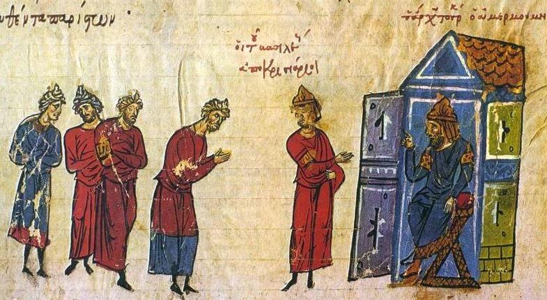 """Abu Ishaq 'Abbas al-Mu'tasim bin Harun al-Rashid (795 – 5 ianuarie 842), cunoscut mai bine sub numele de al-Mu'tasim bi-'llah, (""""Cel ce caută refugiu la Dumnezeu""""), a fost cel de-al optulea calif abbasid. Acesta a domnit din 833 până la moartea sa, în 842 - Byzantine envoys before al-Mu'tasim (seated, right), miniature from the Madrid Skylitzes (12th/13th century) - foto preluat de pe ro.wikipedia.org"""