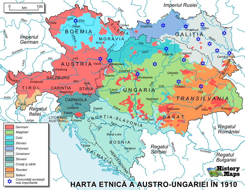 Harta etnica a Austro-Ungarie în 1910 - foto preluat de pe cersipamantromanesc.wordpress.com