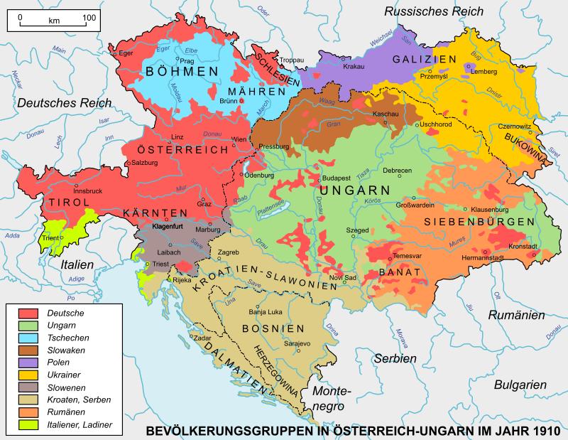 Limbile vorbite în Austro-Ungaria după: William R. Shepherd, Distribution of Races in Austria-Hungary, Historical Atlas, 1911 - foto preluat de pe ro.wikipedia.org