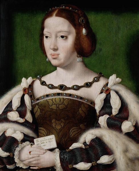 Eleanor de Austria, numită și Leonor de Castilia sau Eleanor de Hamburg (n. 15 noiembrie 1498 – d. 25 februarie 1558) a fost infantă a Spaniei, apoi regină a Portugaliei (1518-1521), regină a Franței (1530-1547) și ducesă de Touraine (1547-1558) - (Portrait by Joos van Cleve, c. 1530) - foto preluat de pe ro.wikipedia.org