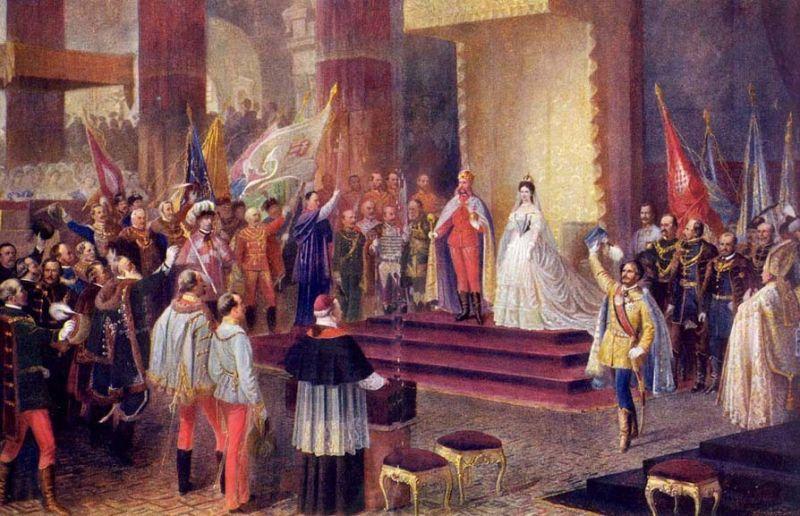 Încoronarea lui Francisc Iosif I şi a consoartei sale Elisabeta ca pereche regală a Ţărilor Coroanei Sfântului Ştefan, 1867 - foto preluat de pe ro.wikipedia.org