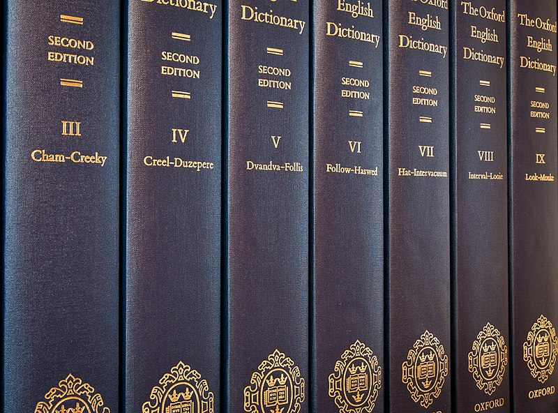 Oxford English Dictionary - Seven of the twenty volumes of printed second edition of the Oxford English Dictionary (1989) - foto preluat de pe en.wikipedia.org
