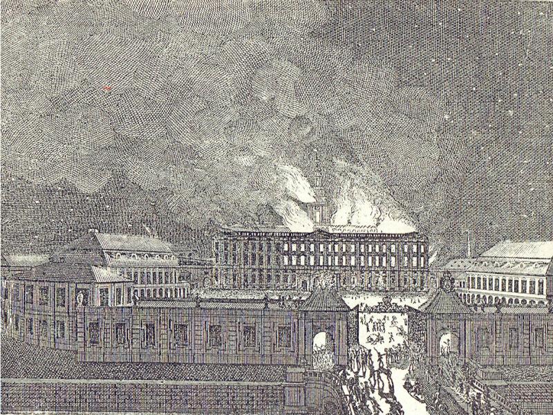 Palatul regal Christianborg din Copenhaga este distrus de un incediu (26 februarie 1794) - foto preluat de pe ro.wikipedia.org