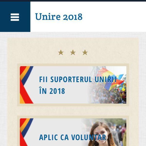 Unire2018.ro - Cel mai mare program de voluntariat pentru Anul UNIRII - foto preluat de pe www.facebook.com/unire2018ro